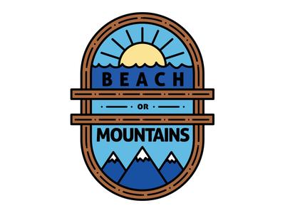 Beach or Mountains blue snowcaps ocean sun logo mountains beach