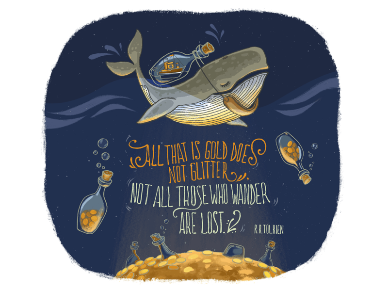 Triad 1 digital painting water whale ocean mural design wall art illustration