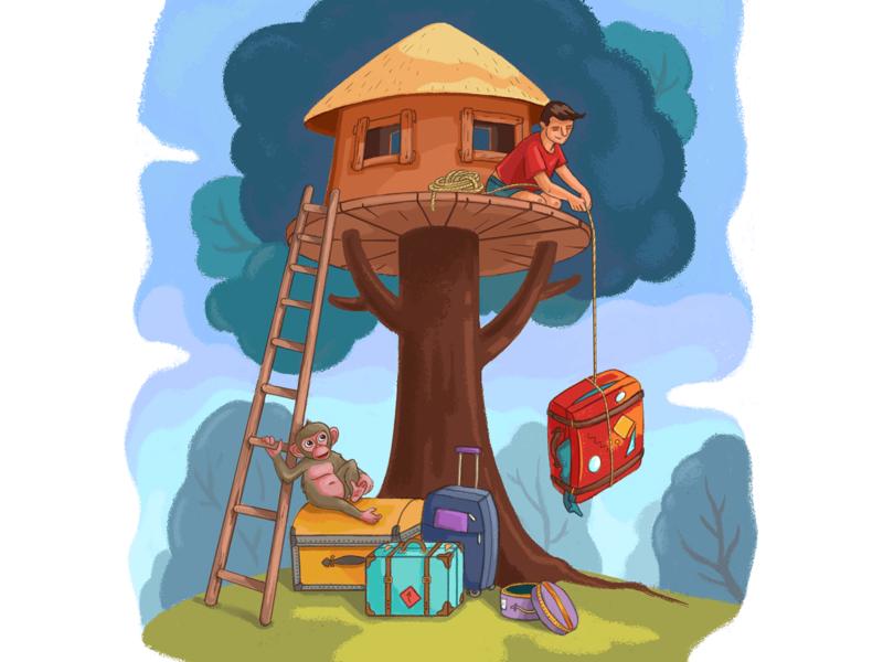 Triad 3 pull hardwork ladder up treehouse human monkey evolution hard luggage effort house mural digital painting cartoon wall art draw illustration design