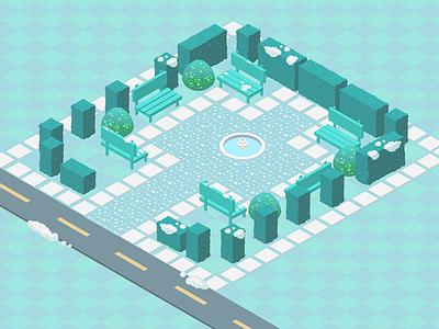 Garden Map - winter version ice blue park 5d 2 2d garden world map isometric art game
