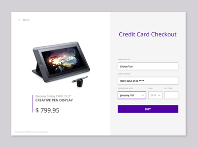 Credit Card Checkout - Dailyui Challenge #002