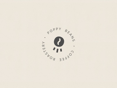 Poppy Beans Coffee Roastery logo rounded brand roastery coffee symbol typography logo design clean branding icon mark logotype logo