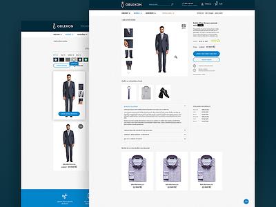 Oblekon Web Design blue suite clean minimalistic ui branding tailor store web