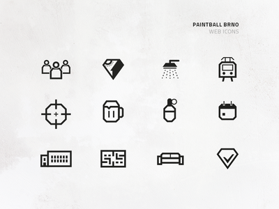 Paintball Brno – Icons manual clean mark icon paintball brand logo identity design icons branding