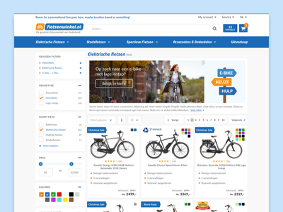 Fietsenwinkel.nl product list page redesign desktop redesign plp pop page list product magento