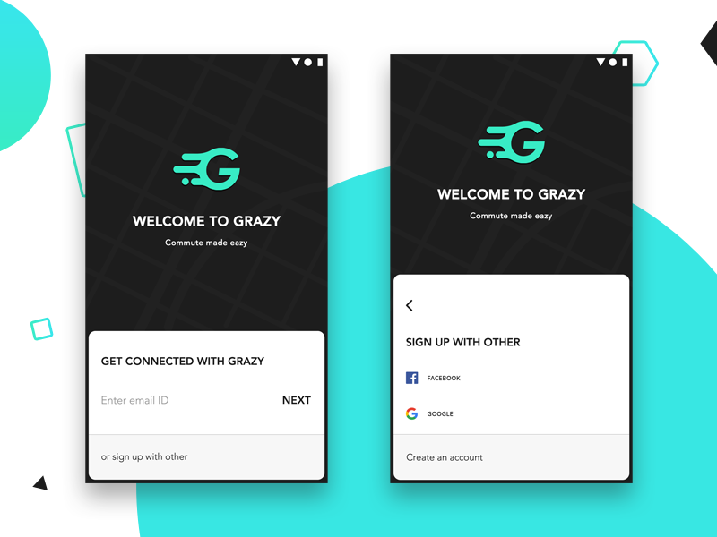 Grazy Login and Signup screen by Rajabutheen on Dribbble