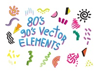 90's 80's Geometric Vector shapes Instant DOWNLOAD