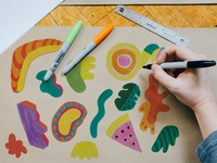 Hand Drawn Cut Out Shapes for collage video or GIFs