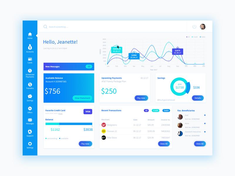 Banking dashboard color design layout dashboard banking finance ux ui