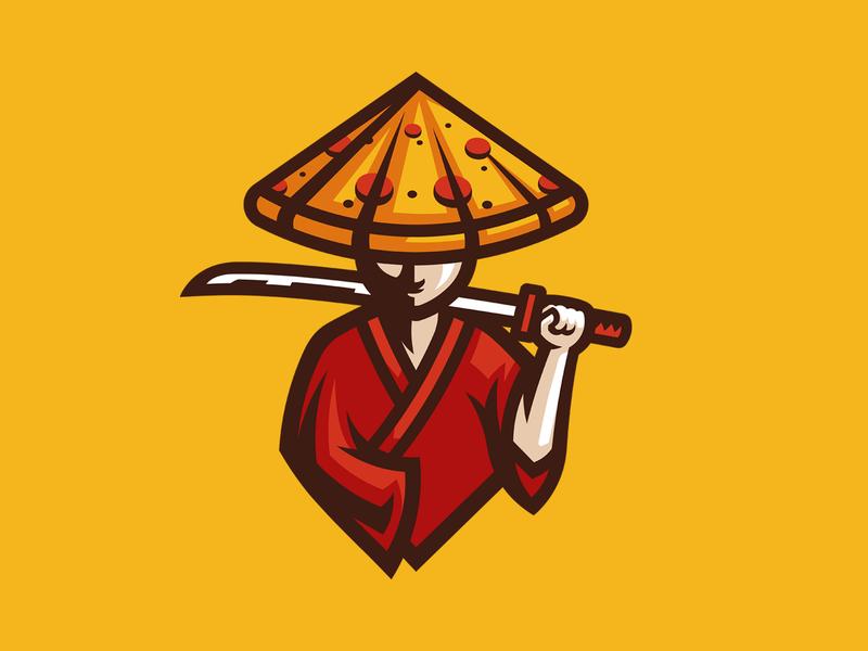 Pizza Warrior mark esport logo gaming illustration mascot warrior