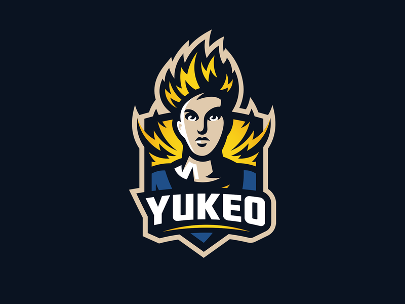 Yukeo illustration esport goku saiyan gaming logo mascot