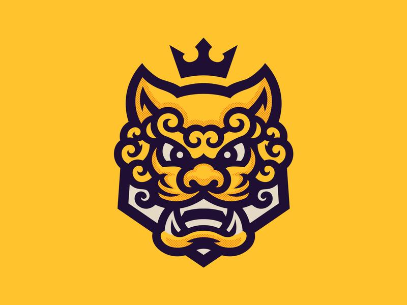 Komainu illustration gaming mascot logo foodog dog lion