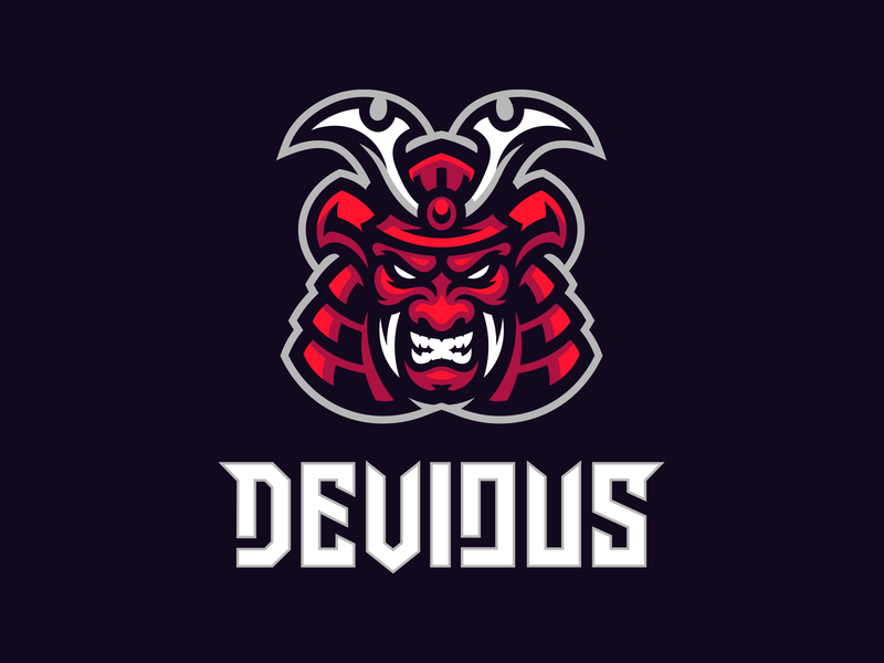 Devious Apparel logo mascot samurai apparel oni skull demon