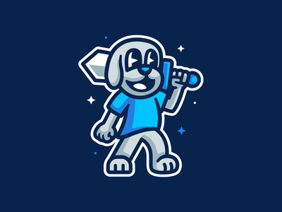 Little Warrior logo mascot illustration animal cute sword warrior dog
