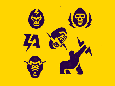 Lightning Apes mark process logo gorilla monkey ape exploration sketches