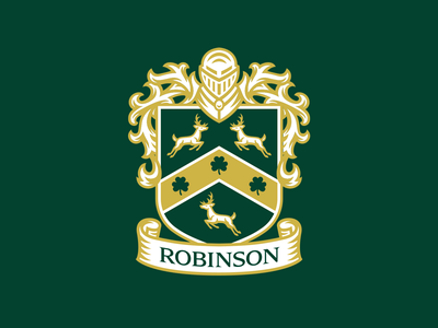 Robinson Family Crest illustration mascot logo badge crest deer