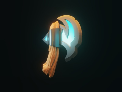 Fantasy Axe game magic render weapon medieval fantasy axe 3d blender low poly