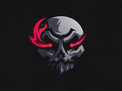 Skull mascot gaming esports illustration logo devil fire flames demon skull