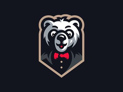 Mister Bear suit mascot logo illustration boss mister