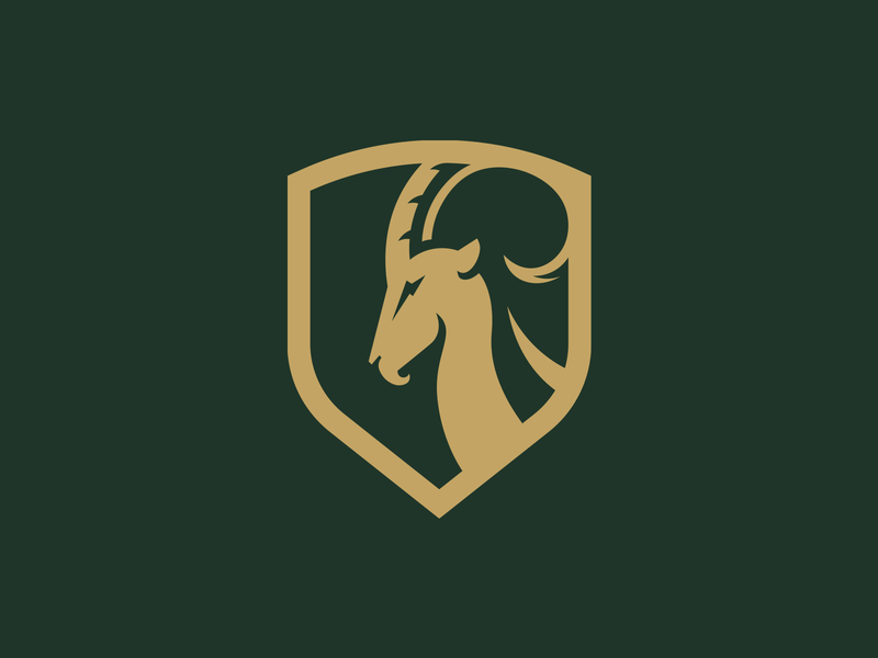 Ibex brand mark shield ram horns goat logo ibex