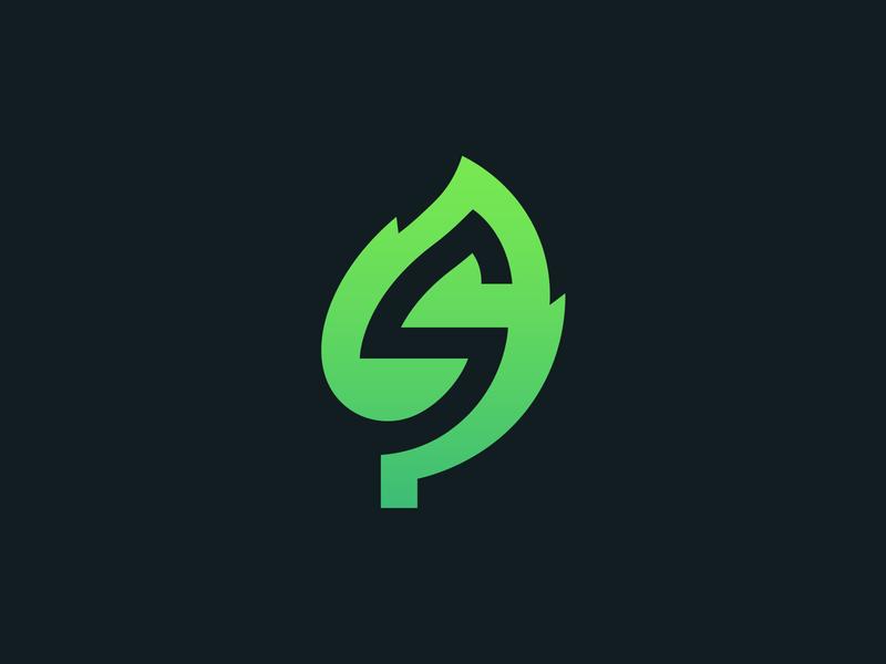 S + Leaf logo mark seasons plant green s letter leaf