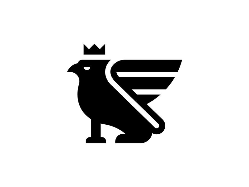 Griffin crown mark logo bird lion
