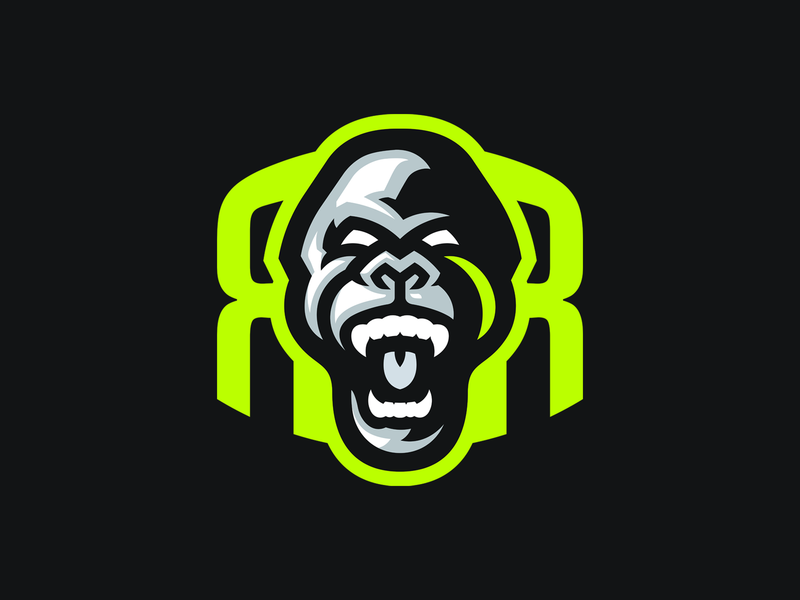Rampage Racing brand logo r mascot logo mascot marathon running racing ape monkey gorilla