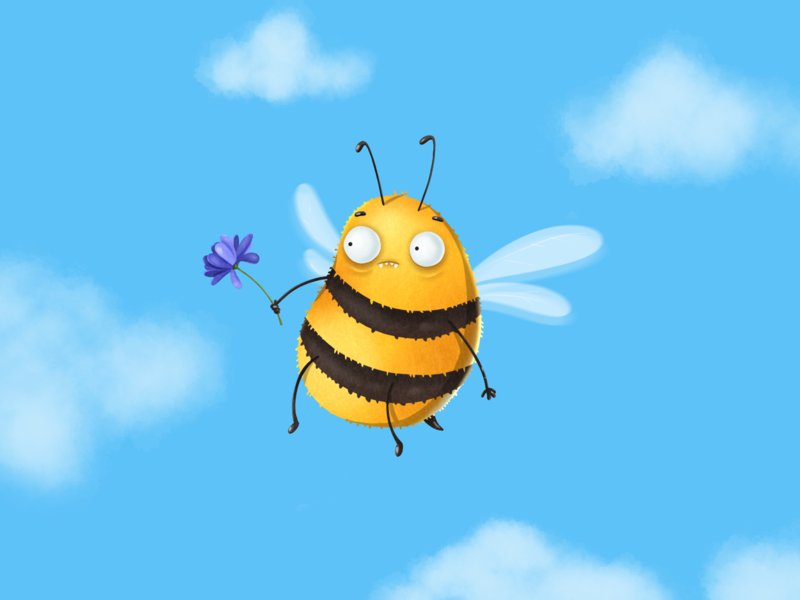 Bee illustration procreate design surprise emotions kind sky honeybee apis insects flower nature graphic character art bee