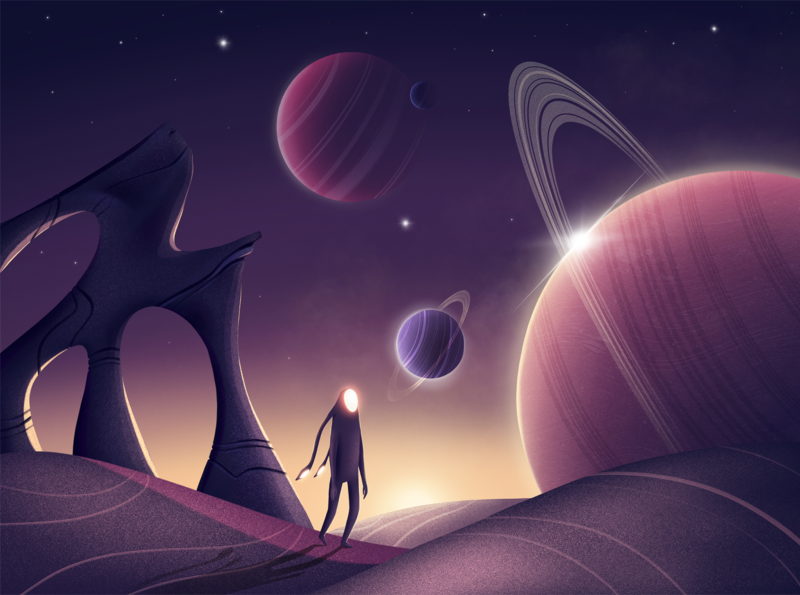 Space star galaxy graphic surreal fantasy conceptart sky saturn planets gradient space art character