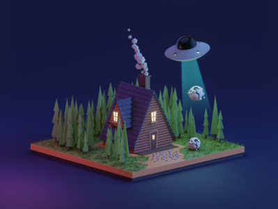 Cow in the forest nighttime daytime day night spruce ufo house hut home forest tree 3d 3dart 3dillustration art illustration cow