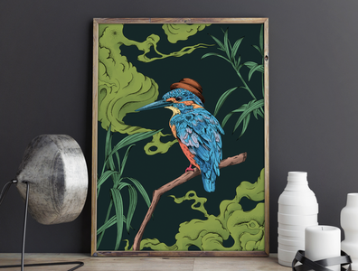 Bird Kingfisher bird illustration tree lineart blue green plant bird animals animal art procreate graphic animal nature design art illustration