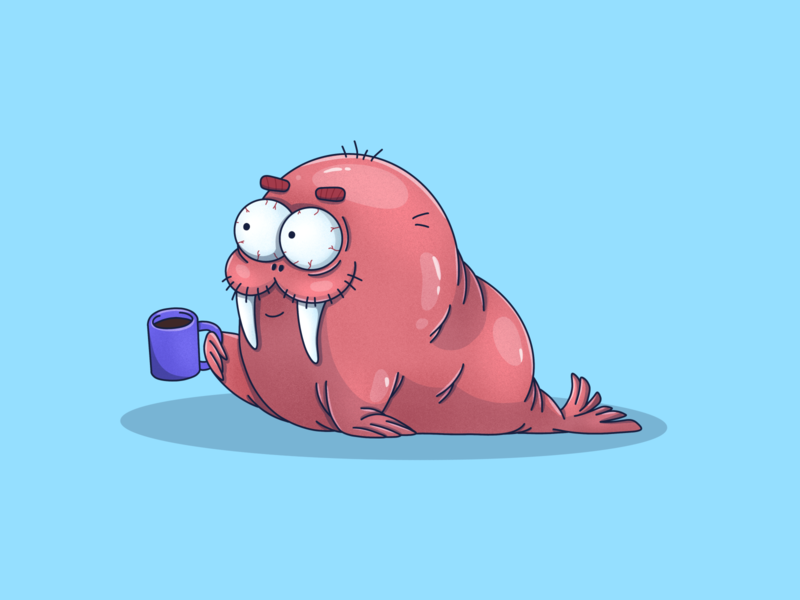 Walrus drinks coffee drinks seal vigorous sleep morning coffee sea ocean graphic emotions procreate animal art animal nature illustration character art animals