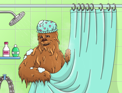 Chewie in the shower