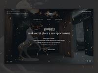 Sparks Restaurant website cafe sparks dark restaurant web homepage landing
