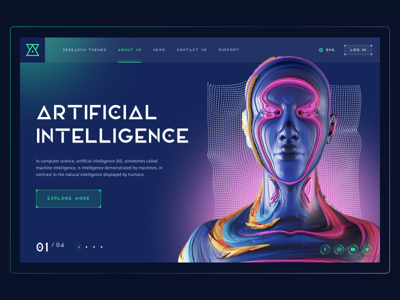 Futuristic Concept web ui dots minimal futuristic future robots robot pink green neon blue dark