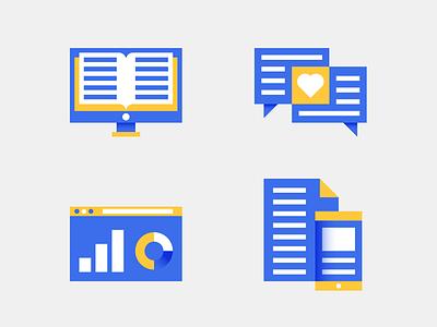 Publishing icons communication screen media digital book computer hi tech icon