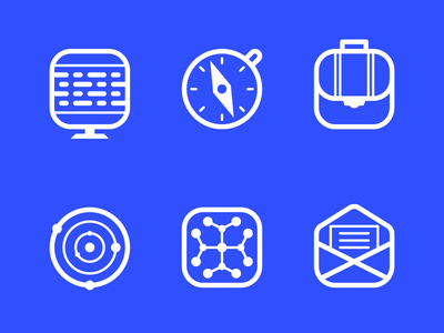 AIP icon set suitcase briefcase mail map compass computer digital code photo camera grid icon