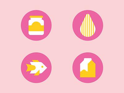 Foody icons almond jam milk fish food infographic icons
