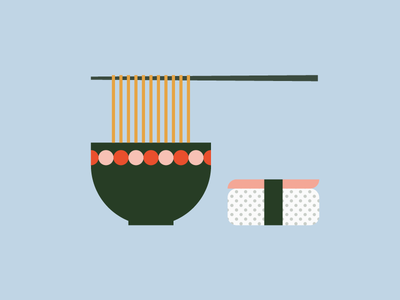 Sushi&Ramen dots soya oriental food ramen illustration sushi