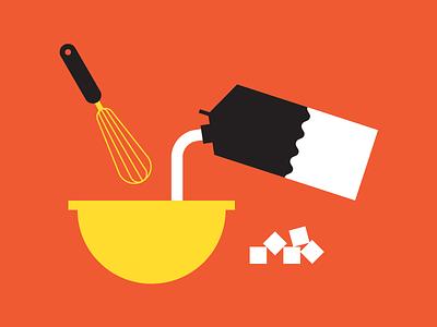 Bake a cake kitchen cook sugar milk cake bake food infographic icons