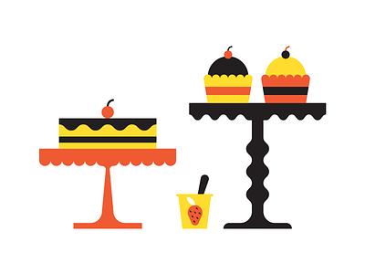 Baked goods sweet yogurt pie cupcakes cake bake food infographic icons