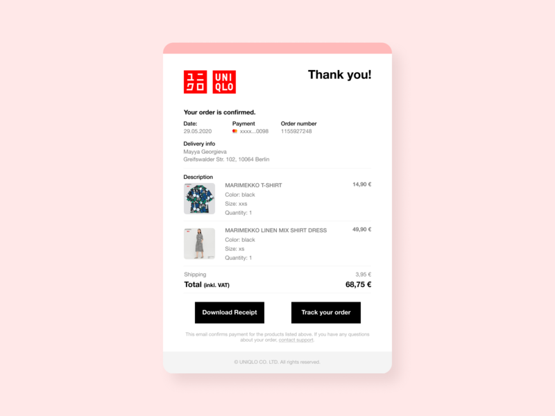 Uniqlo Email receipt UI email template shopping order email receipt email design artdirection visual design uiux dailyui ui