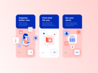 Onboarding screens for organizational App planning onboarding flow onboarding ui onboarding design modern illustration artdirection mobile app visual design uiux dailyui ui