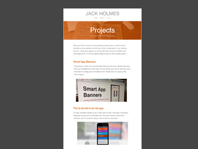 Personal site projects page