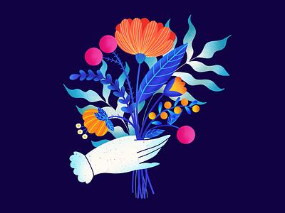 Colorful Flowers hands orange blue pink plant illustration plants flowers illustration ipad pro colorful artwork art procreate illustration design ux ui