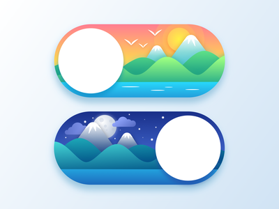 Toggle - Day and Night day night daily art artwork art daily daily ui time button states button design button toggle button toggle switch toggle web illustration design ux ui