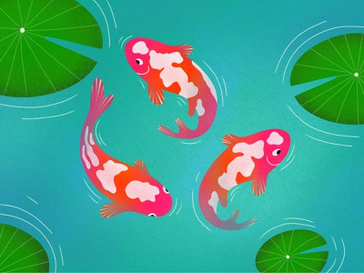 Fish In A Small Pond green blue pink colorful fish artwork art illustration design ux ui