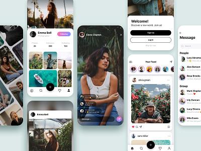 Social App mobile app design mobile ui mobile app web design ui kit design ui kit photo profile page social app social mobile ios app design web mobile design app design ios app design ux ui
