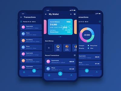 Mobile Wallet App Dark Theme mobile design ios dashboard chart analytics design app ux ui