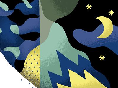 Sabotage stars camo black yellow blue illustration pattern moon